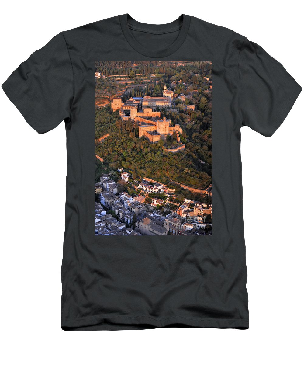 Alhambra Men's T-Shirt (Athletic Fit) featuring the photograph Aerial Photo Alhambra And Albaycin In Granada by Guido Montanes Castillo