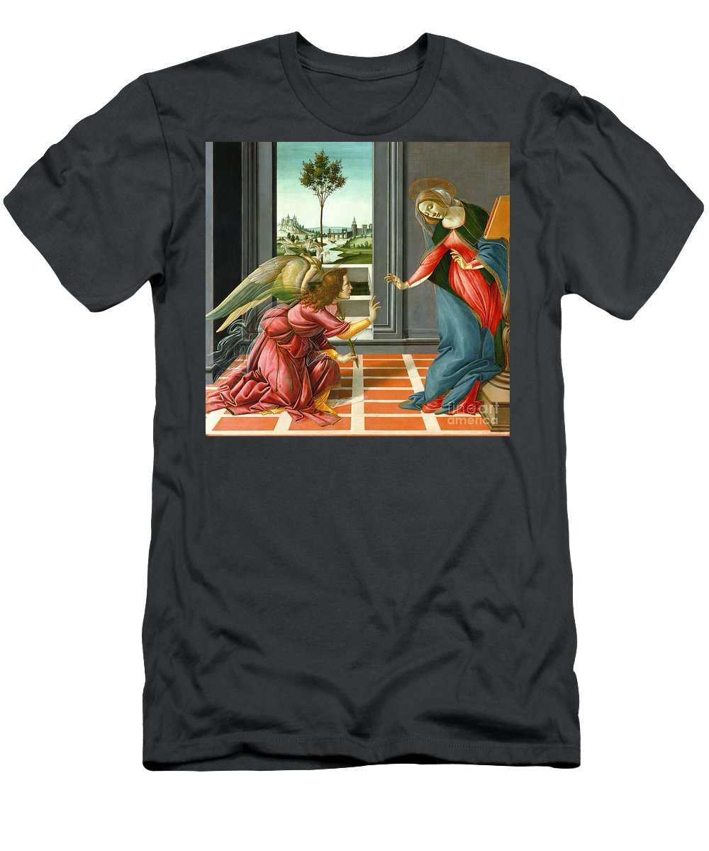 Lily Men's T-Shirt (Athletic Fit) featuring the painting Annunciation by Sandro Botticelli