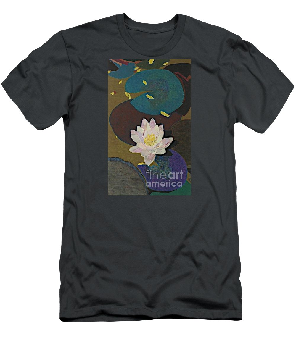 Landscape Men's T-Shirt (Athletic Fit) featuring the painting Autumn Lily by Allan P Friedlander