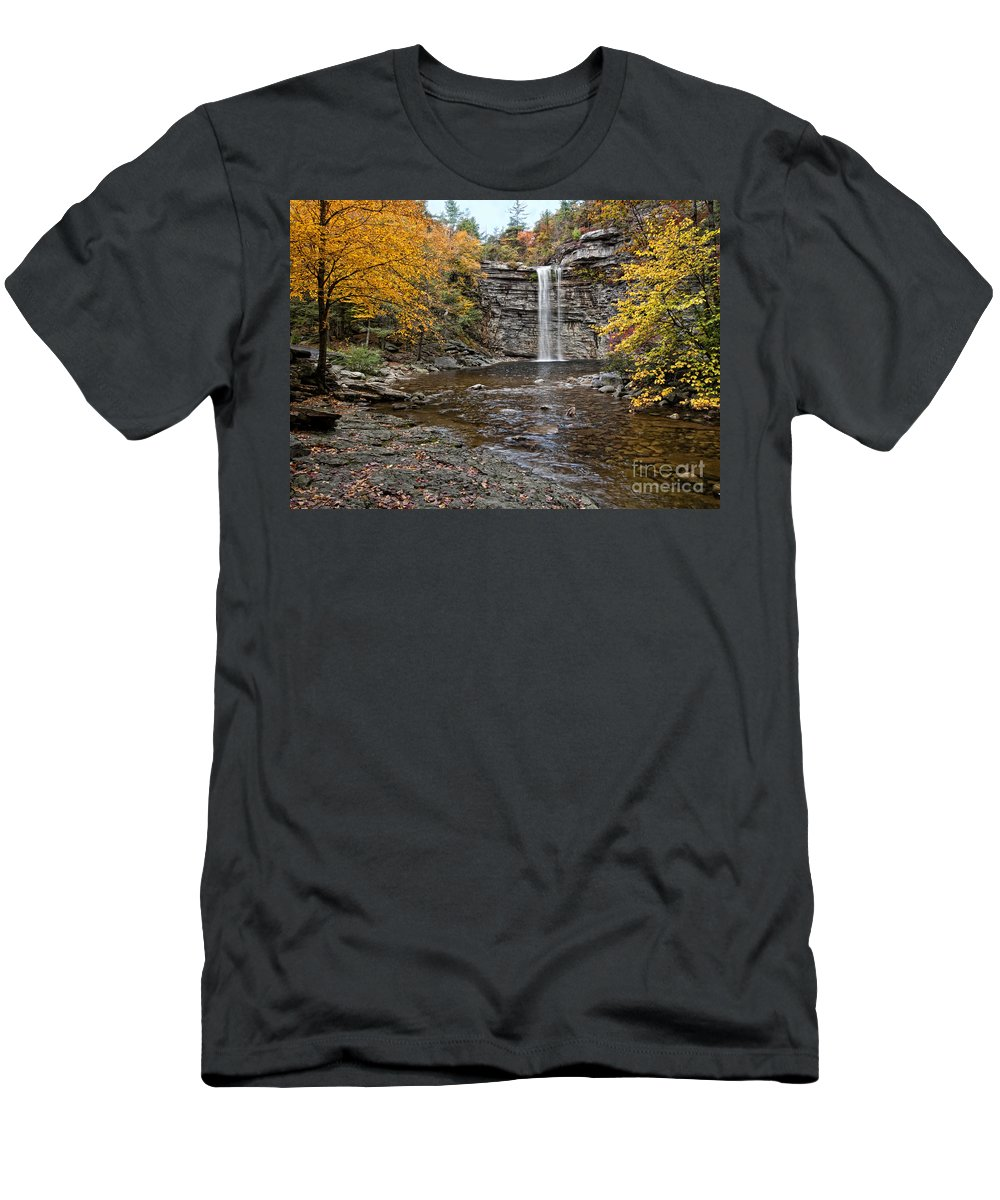 Fall Men's T-Shirt (Athletic Fit) featuring the photograph Awosting Falls by Claudia Kuhn