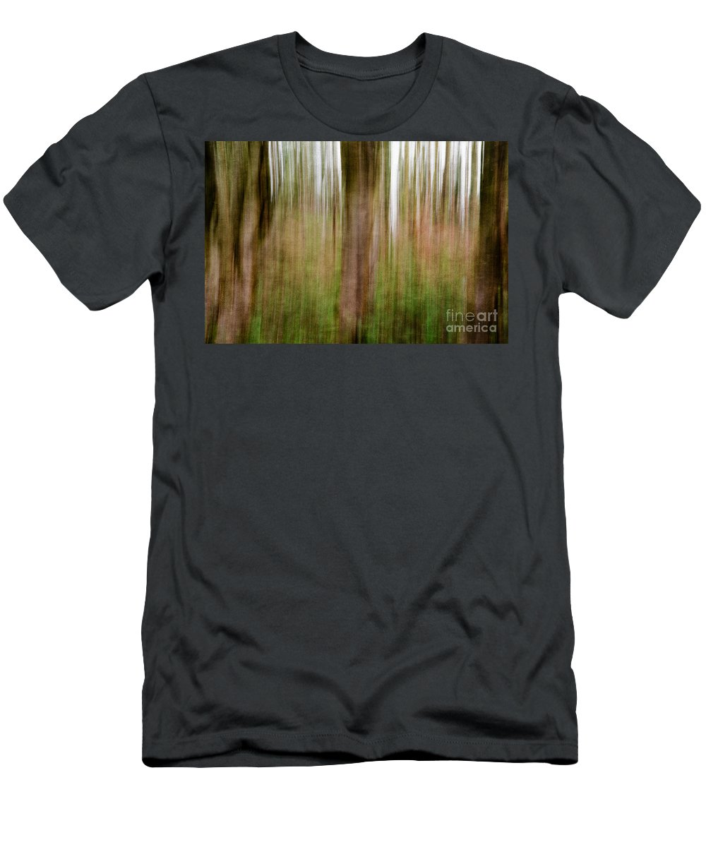 Trees Men's T-Shirt (Athletic Fit) featuring the photograph Blurred Trees by Matt Malloy