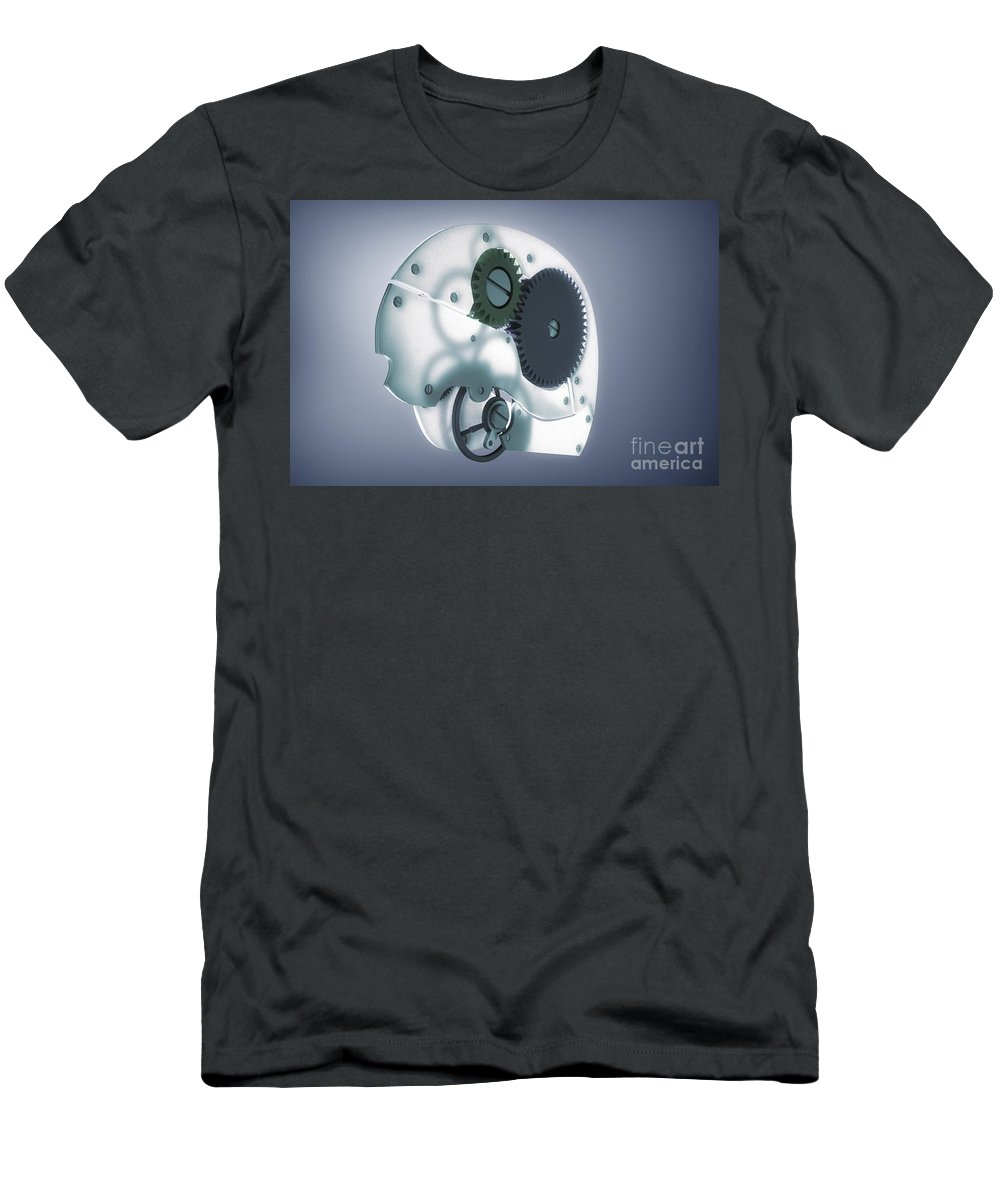 3d Visualisation Men's T-Shirt (Athletic Fit) featuring the photograph Brain Mechanism by Science Picture Co