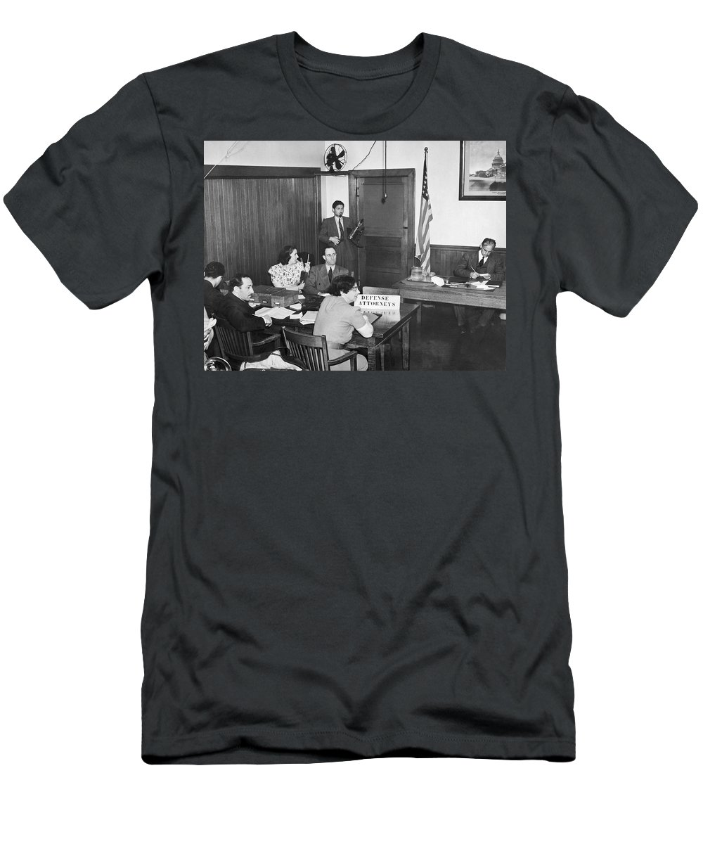 1930s Men's T-Shirt (Athletic Fit) featuring the photograph Bridges Deportation Hearing by Underwood Archives
