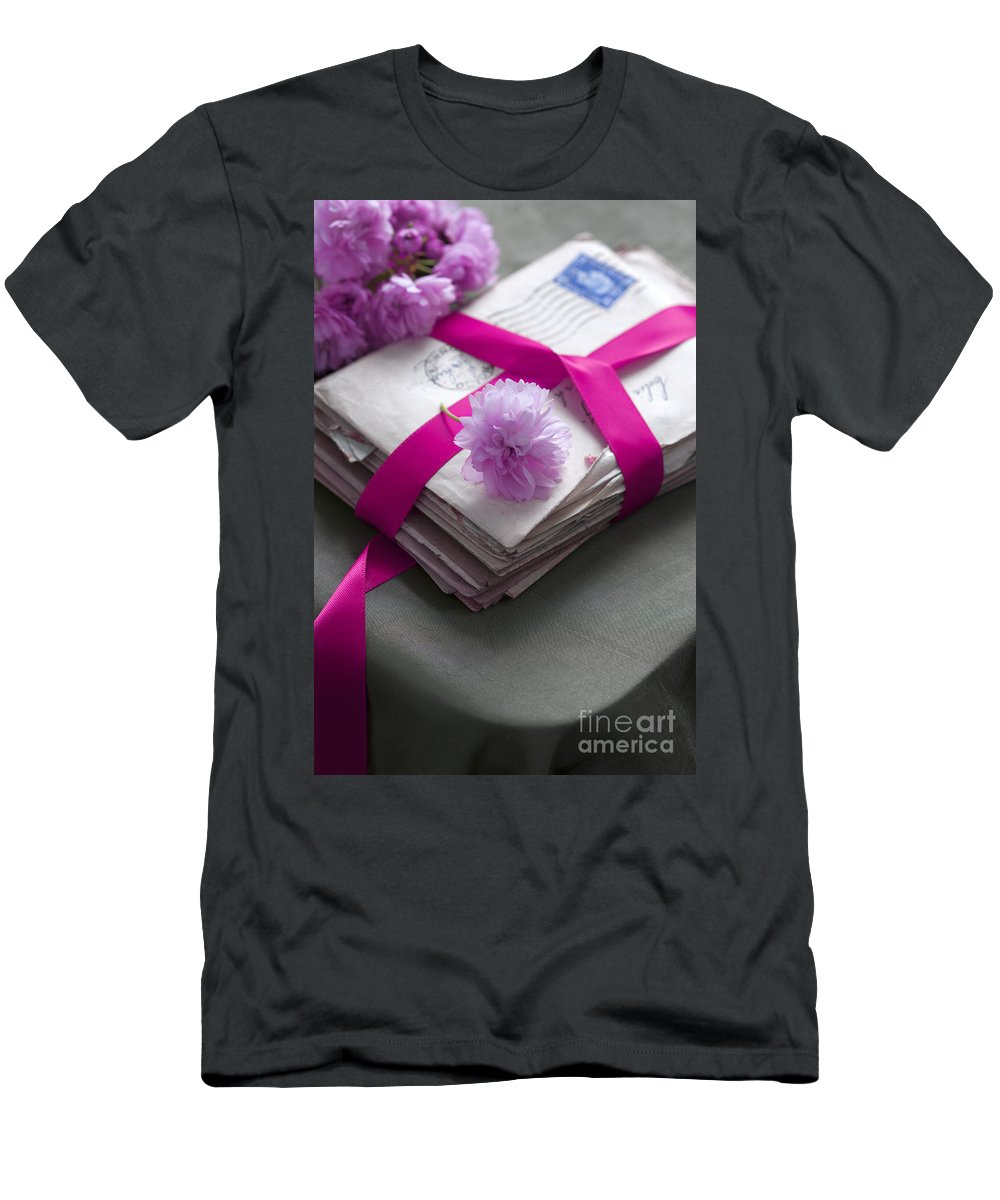 Letter Men's T-Shirt (Athletic Fit) featuring the photograph Bundle Of Old Love Letters Tied With Ribbon And Blossom by Lee Avison
