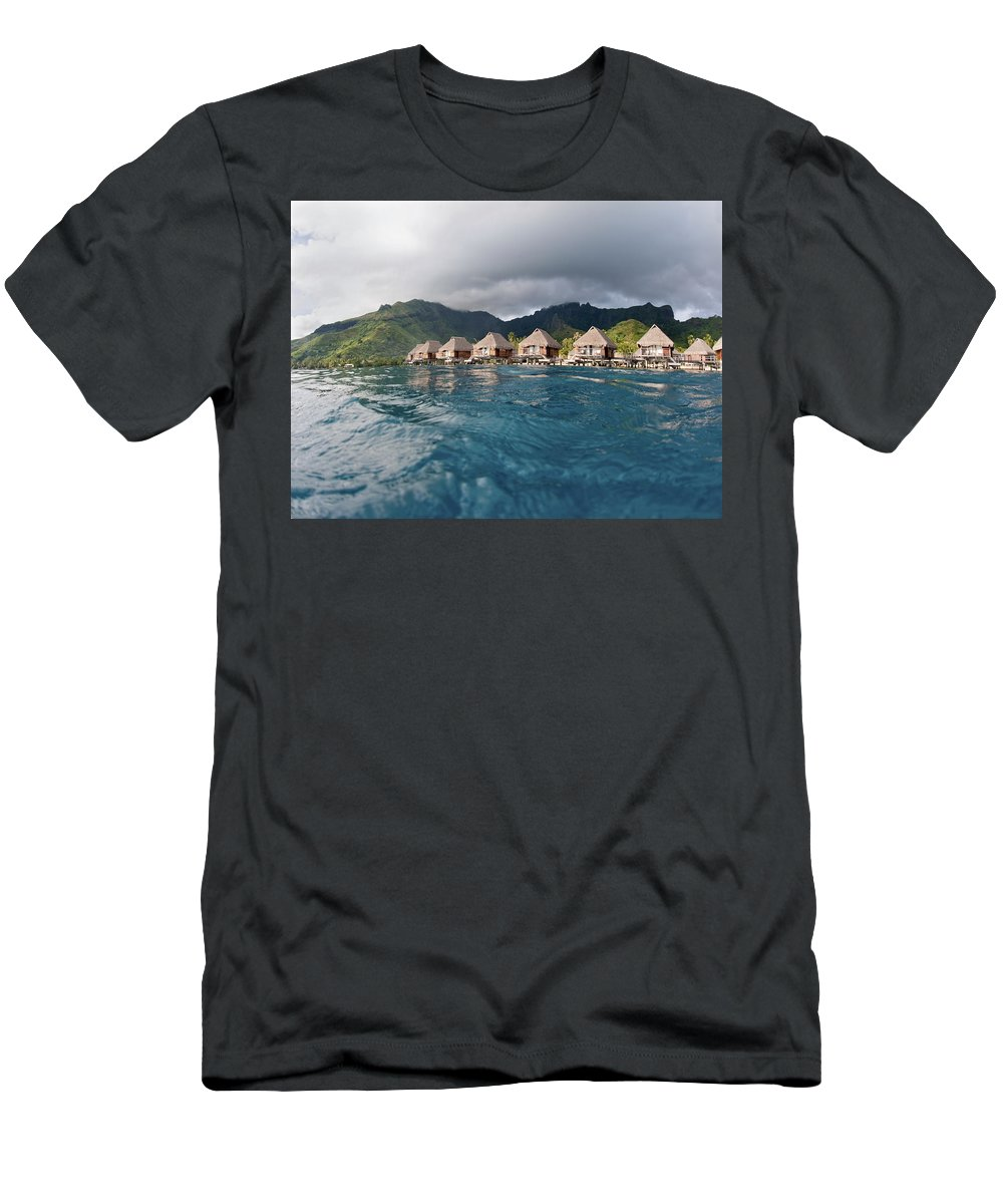 Above Men's T-Shirt (Athletic Fit) featuring the photograph Bungalows Over Ocean by M Swiet Productions