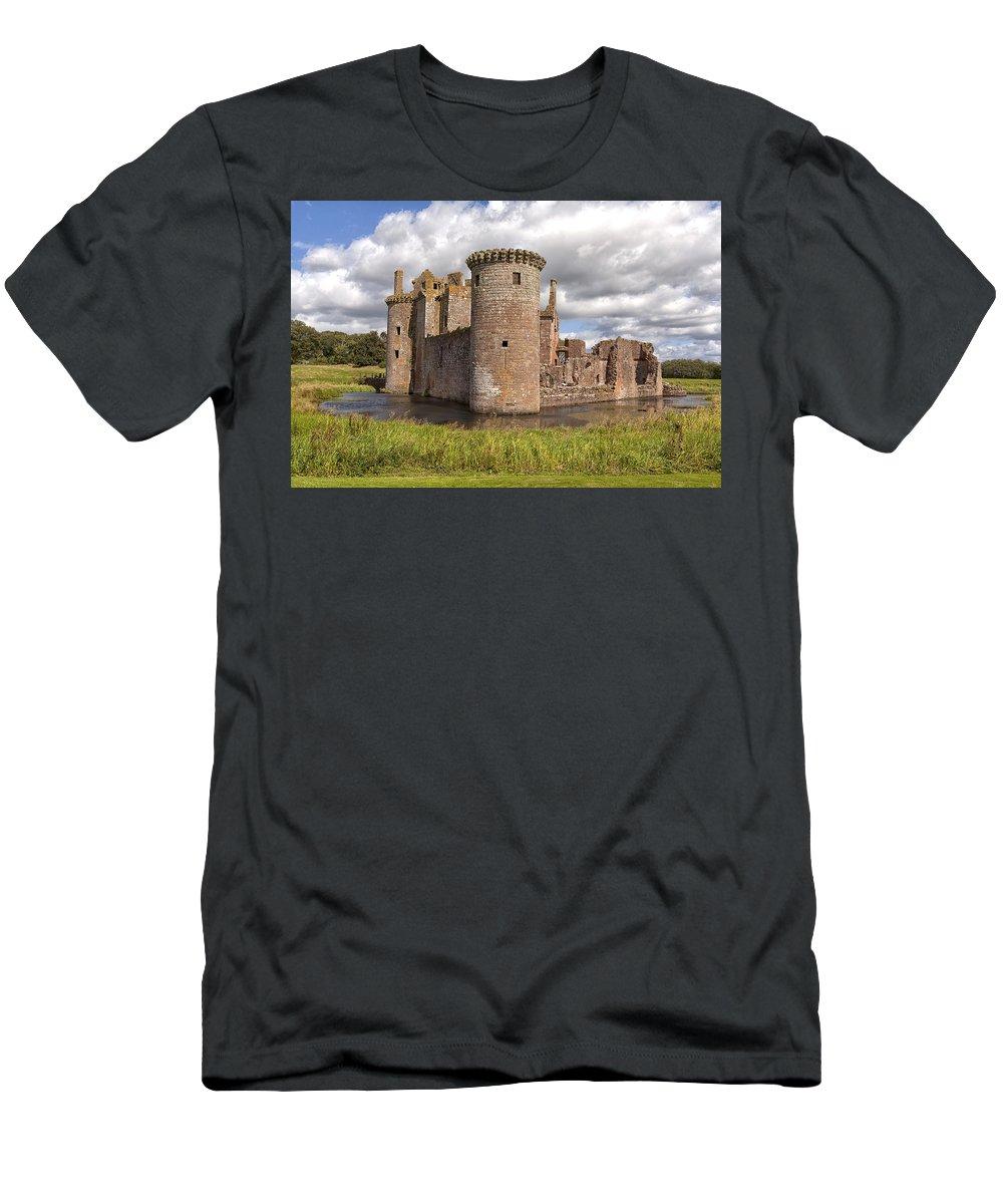Castle Men's T-Shirt (Athletic Fit) featuring the photograph Caerlaverock Castle by Eunice Gibb