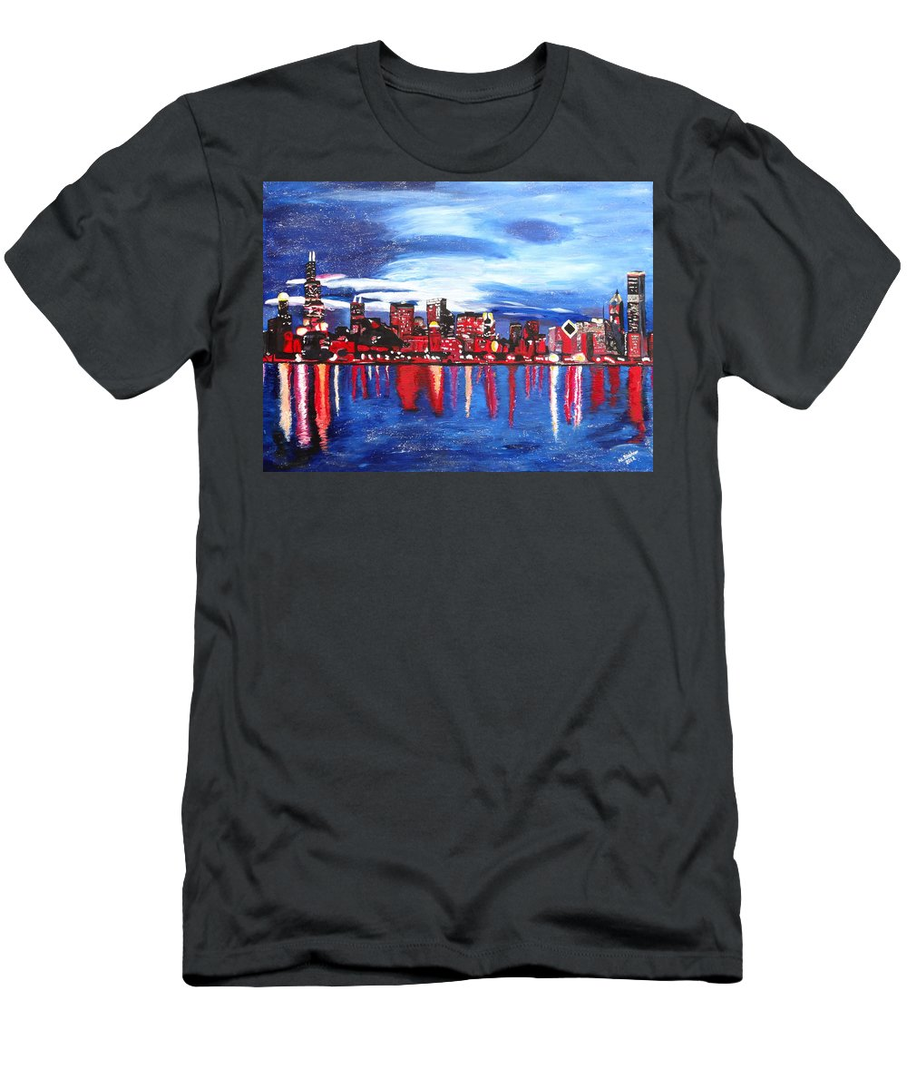 Chicago Skyline Men's T-Shirt (Athletic Fit) featuring the painting Chicago Skyline At Night by M Bleichner