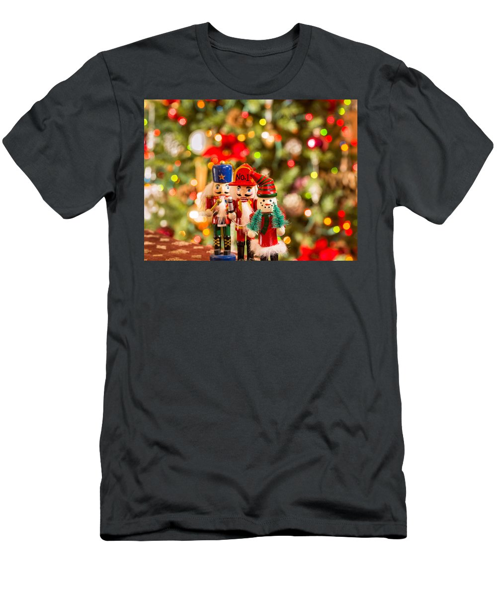 Background Men's T-Shirt (Athletic Fit) featuring the photograph Christmas Figures by Peter Lakomy