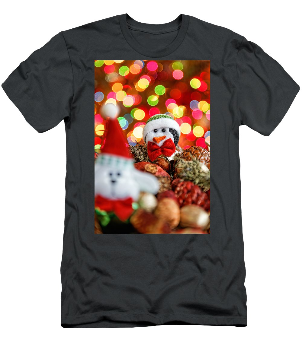 Background Men's T-Shirt (Athletic Fit) featuring the photograph Christmas Penguin by Peter Lakomy