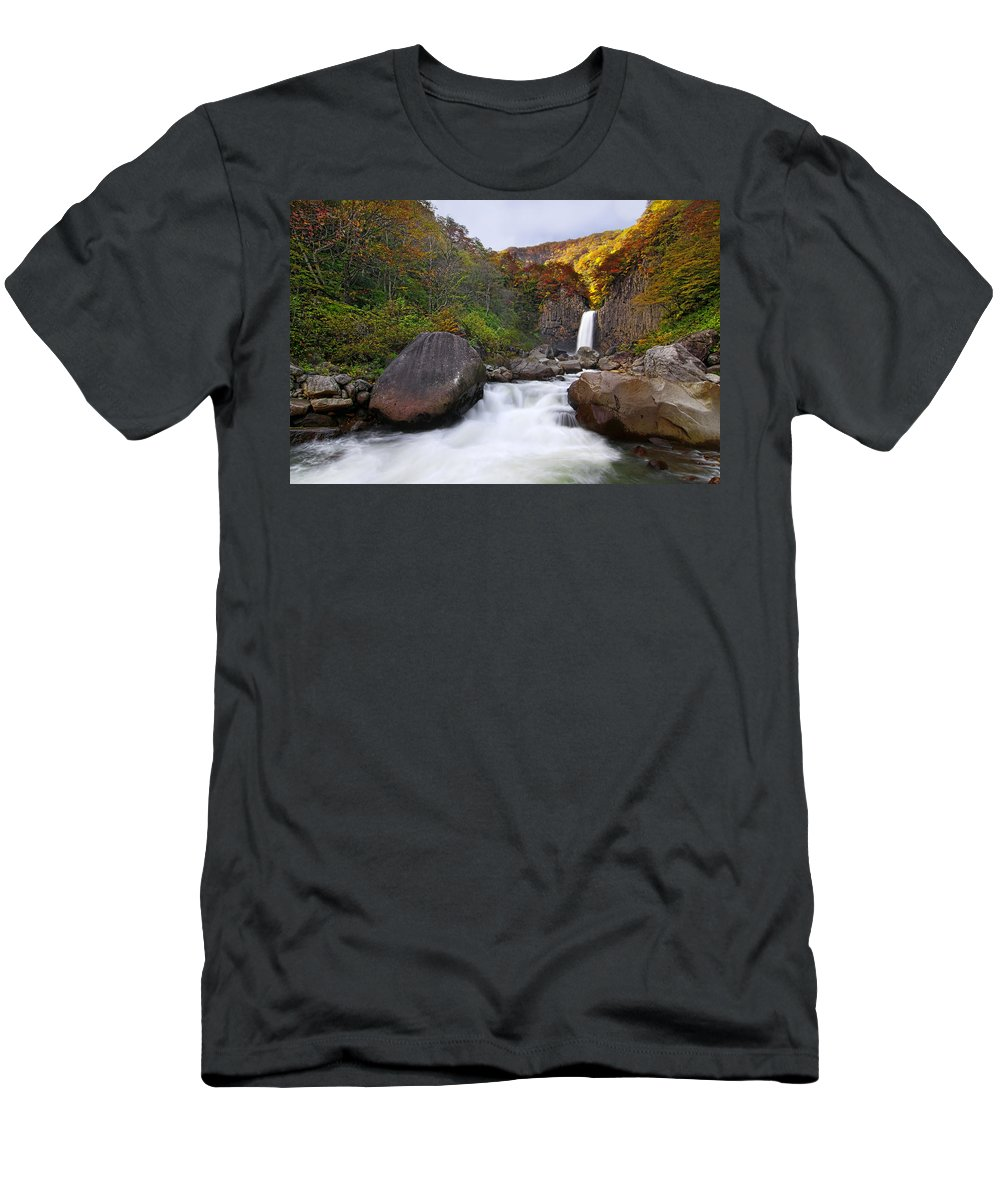 Water Fall Men's T-Shirt (Athletic Fit) featuring the photograph Colors Of Fall by Midori Chan