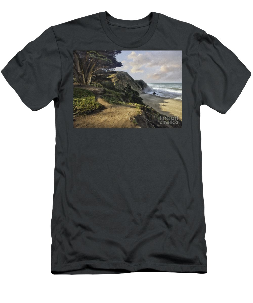 Cypress Men's T-Shirt (Athletic Fit) featuring the photograph Cypress Path Impasto by Sharon Foster