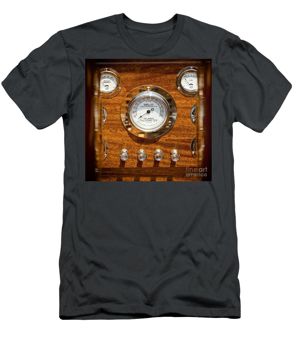 Dashboard Men's T-Shirt (Athletic Fit) featuring the photograph Dashboard In A Classic Wooden Boat by Les Palenik