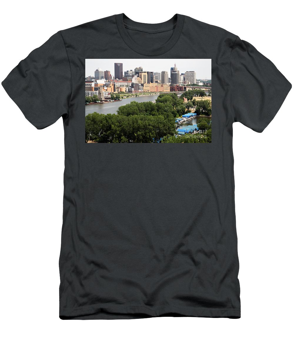 1st National Bank Men's T-Shirt (Athletic Fit) featuring the photograph Downtown Skyline Aerial Of St. Paul Minnesota by Bill Cobb