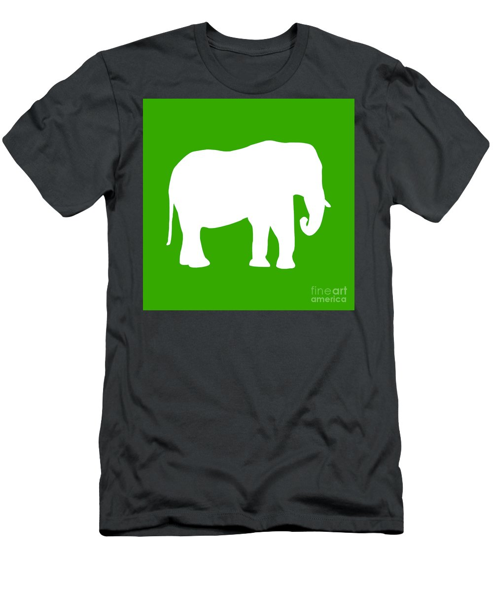 Graphic Art Men's T-Shirt (Athletic Fit) featuring the digital art Elephant In Green And White by Jackie Farnsworth