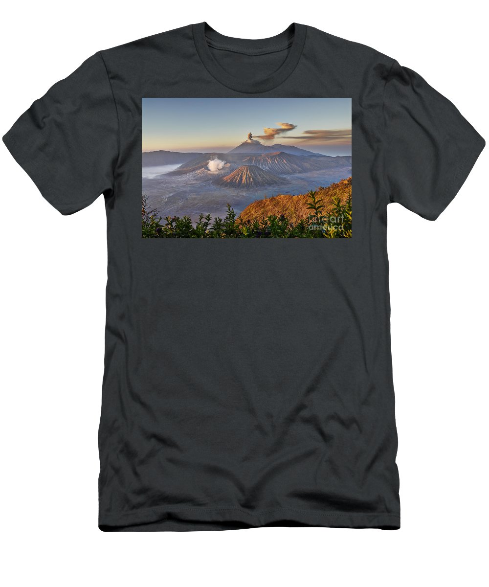 Adventure Men's T-Shirt (Athletic Fit) featuring the photograph eruption at Gunung Bromo by Juergen Ritterbach