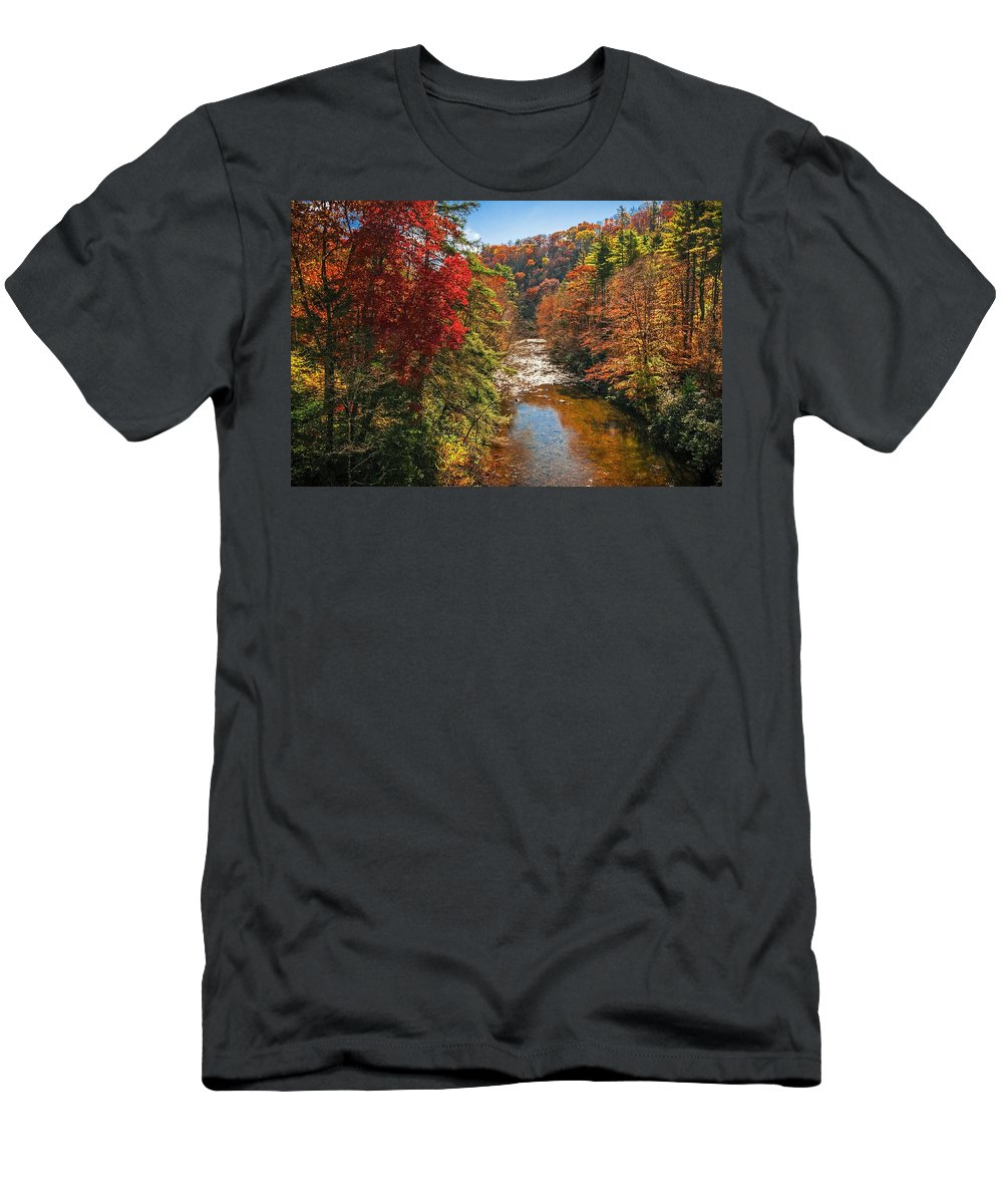 Landscapes Men's T-Shirt (Athletic Fit) featuring the photograph Fall Along The Linville River by Lynn Bauer