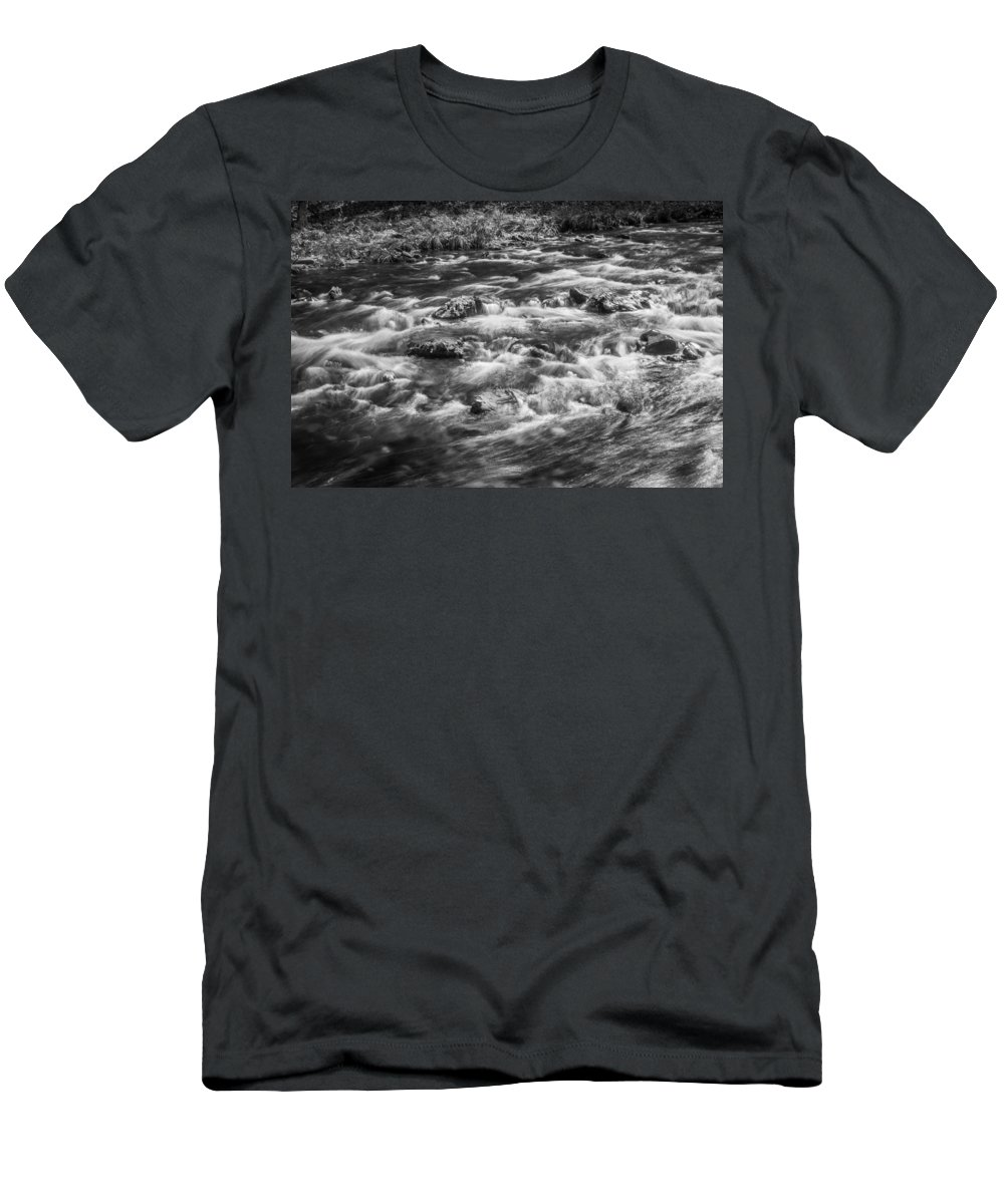 Stream Men's T-Shirt (Athletic Fit) featuring the photograph Fall Colors Stream Great Smoky Mountains Painted Bw by Rich Franco