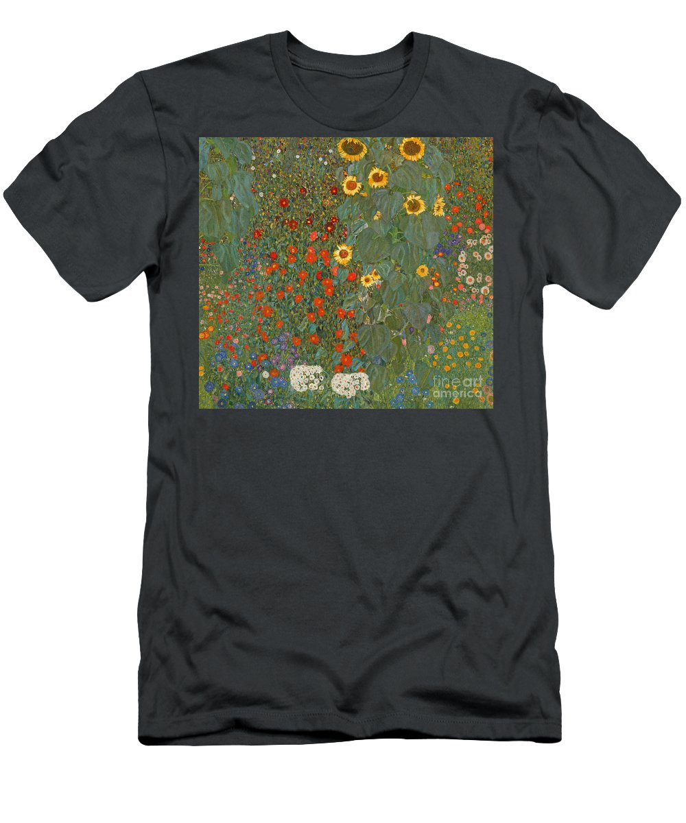 Klimt Menu0027s T Shirt (Athletic Fit) Featuring The Painting Farm Garden With  Sunflowers