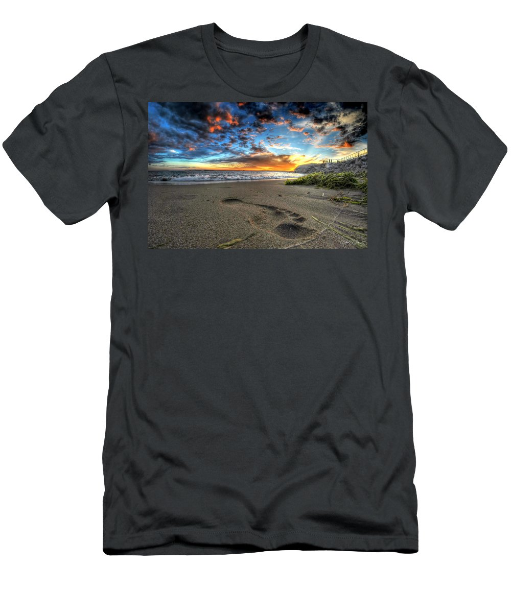 Sunset Men's T-Shirt (Athletic Fit) featuring the photograph Foot Print In The Sand by Michael Frank Jr