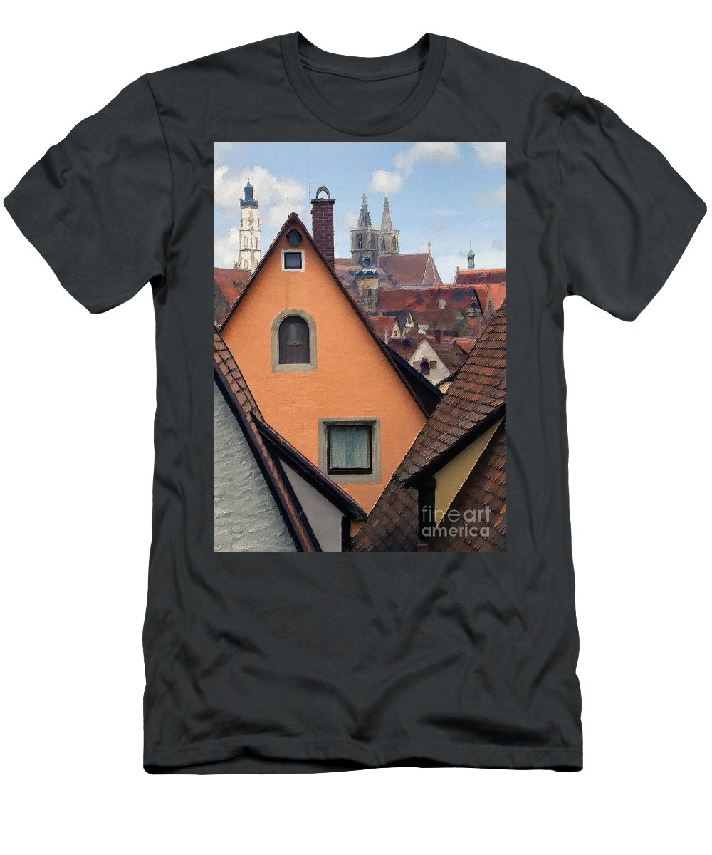 Germany Men's T-Shirt (Athletic Fit) featuring the photograph German Rooftops Impasto by Sharon Foster