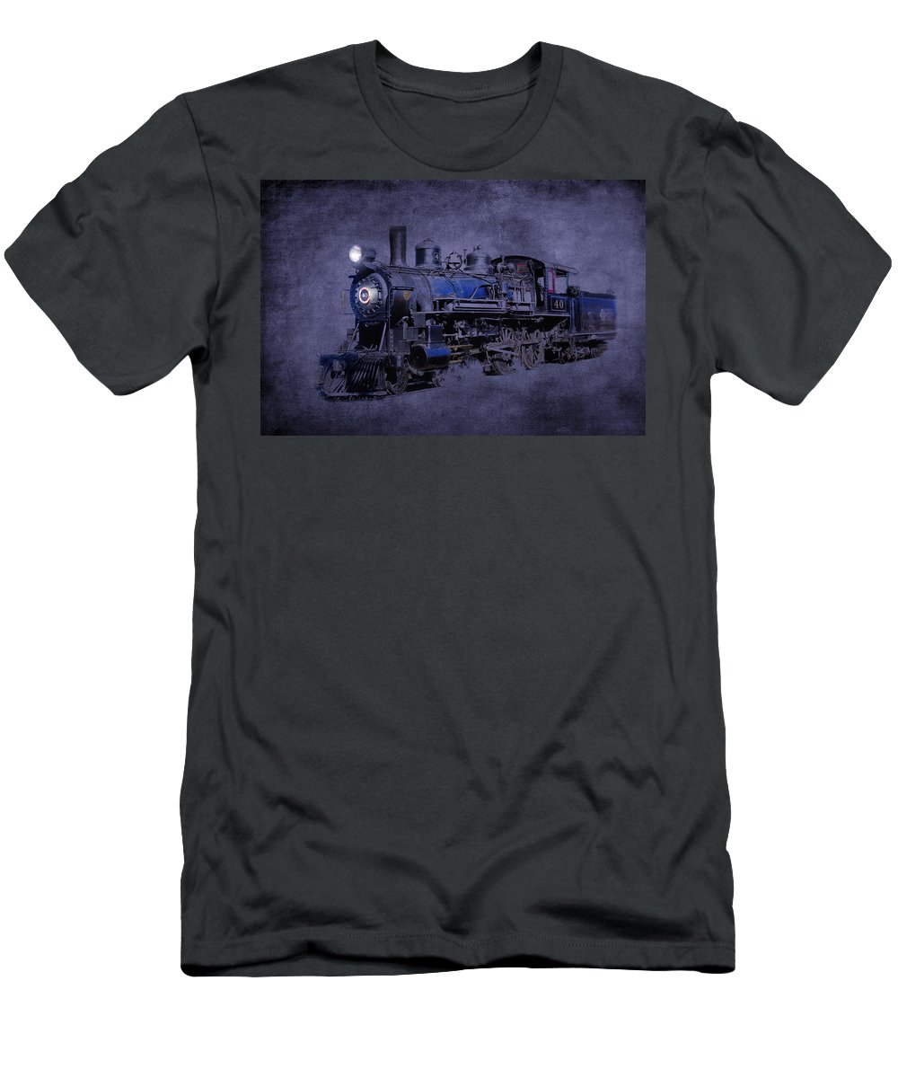 Locomotive Men's T-Shirt (Athletic Fit) featuring the photograph Ghost Train by Gunter Nezhoda