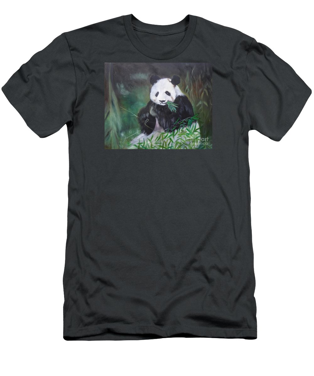 Giant Panda Canvas Print Men's T-Shirt (Athletic Fit) featuring the painting Giant Panda 1 by Jenny Lee