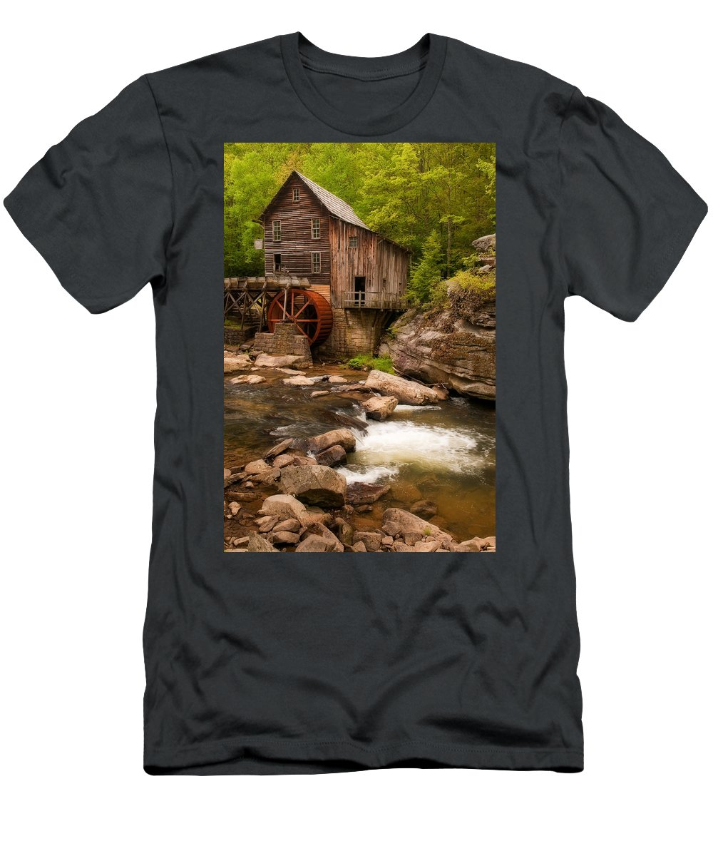 Babcock Men's T-Shirt (Athletic Fit) featuring the photograph Glade Creek Grist Mill by Michael Blanchette