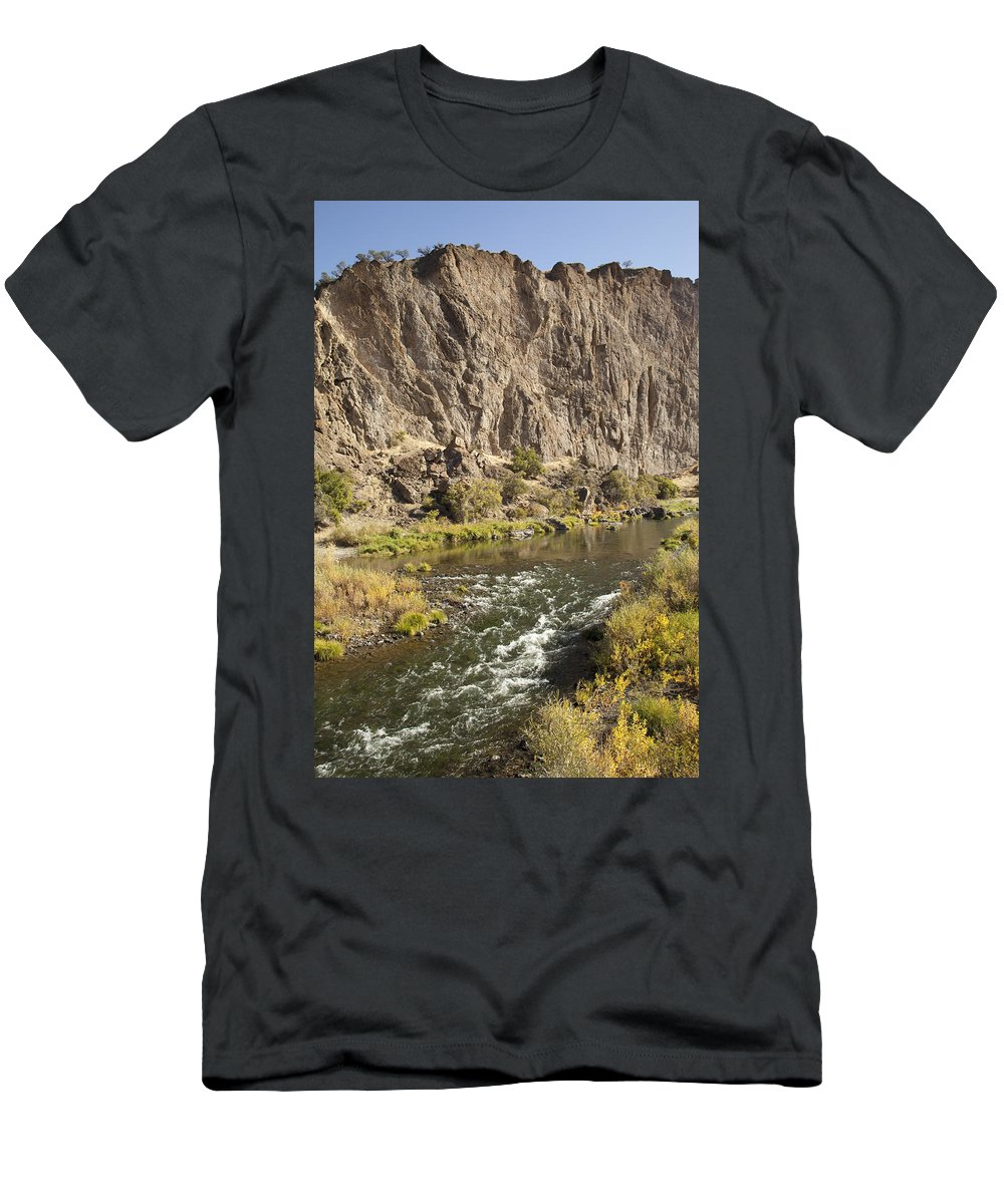 Feb0514 Men's T-Shirt (Athletic Fit) featuring the photograph Goose Rock Above John Day River Oregon by Michael Durham