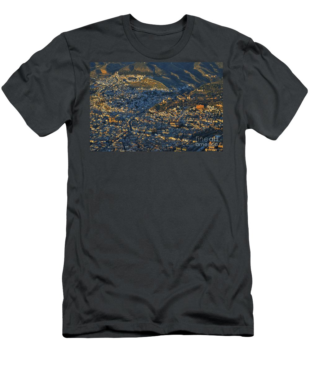 The Alhambra Men's T-Shirt (Athletic Fit) featuring the photograph Granada And The Alhambra by Guido Montanes Castillo