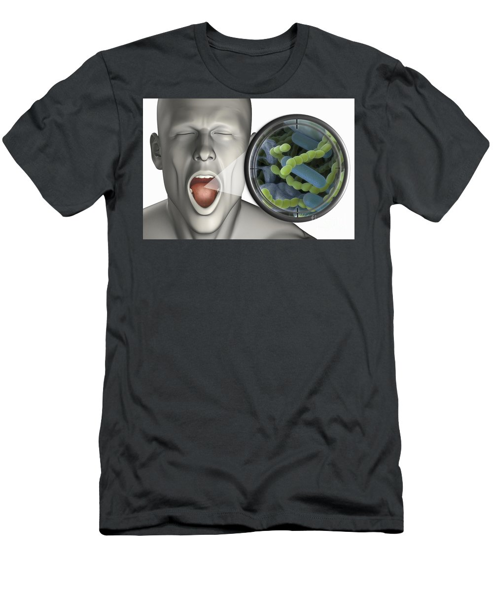 Bacterium Men's T-Shirt (Athletic Fit) featuring the photograph Halitosis by Science Picture Co