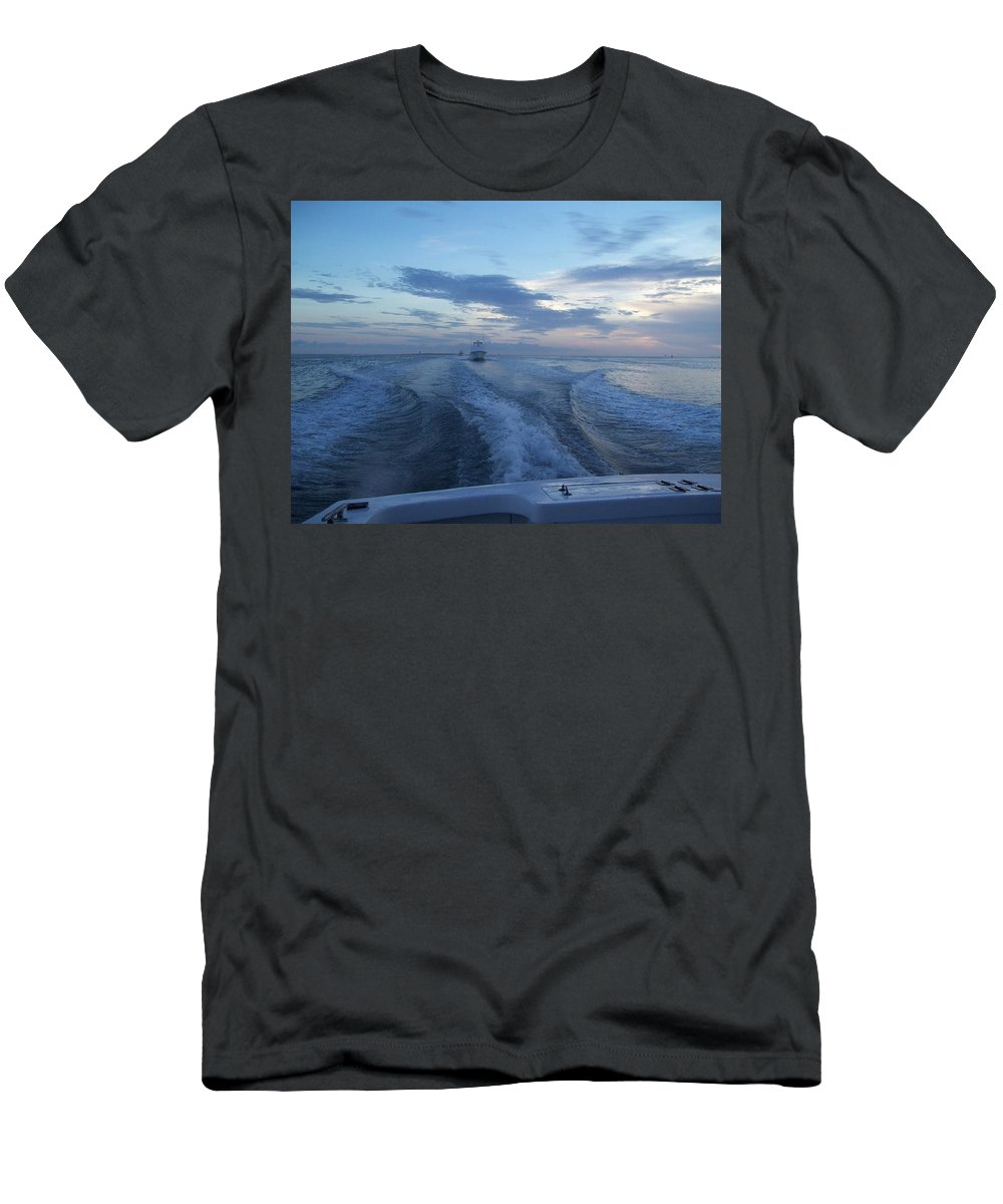 Boat Men's T-Shirt (Athletic Fit) featuring the photograph Heading Out To Sea by Richard Booth