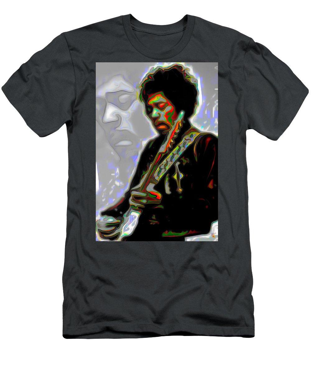 Jimi Hendrix; Jimi Hendrix Picture; Portrait Painting; Fine Art; Fine Art America; Fine Art Print; Figurative Art; Man; Modern Art; Music; Celebrity; Contemporary Art; Fli Men's T-Shirt (Athletic Fit) featuring the painting Jimi Hendrix by Fli Art