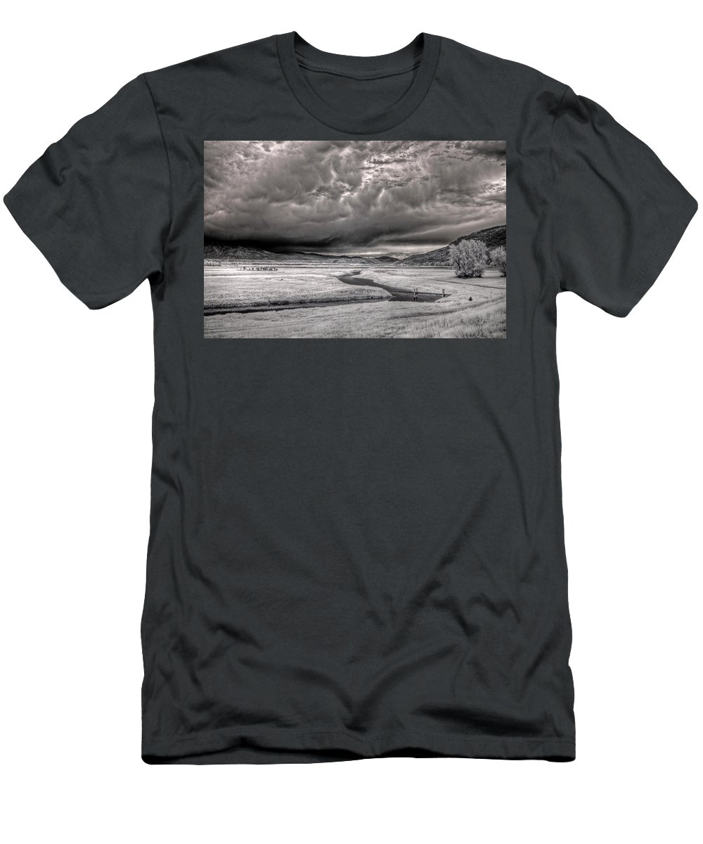 Landscape Men's T-Shirt (Athletic Fit) featuring the photograph Kootenai Wildlife Refuge In Infrared 2 by Lee Santa
