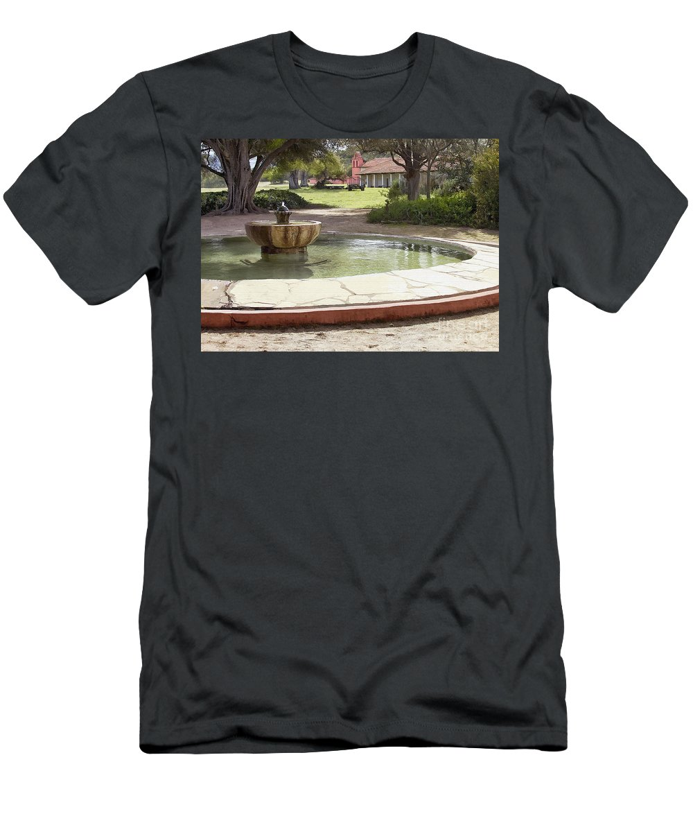 Mission Men's T-Shirt (Athletic Fit) featuring the digital art La Purisima Fountain by Sharon Foster