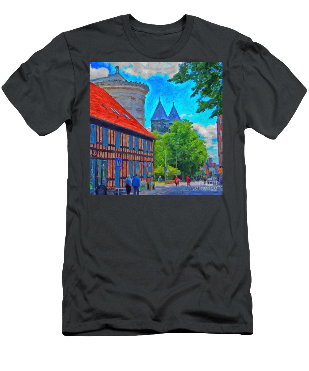 Lund Men's T-Shirt (Athletic Fit) featuring the painting Lund Street Scene by Antony McAulay