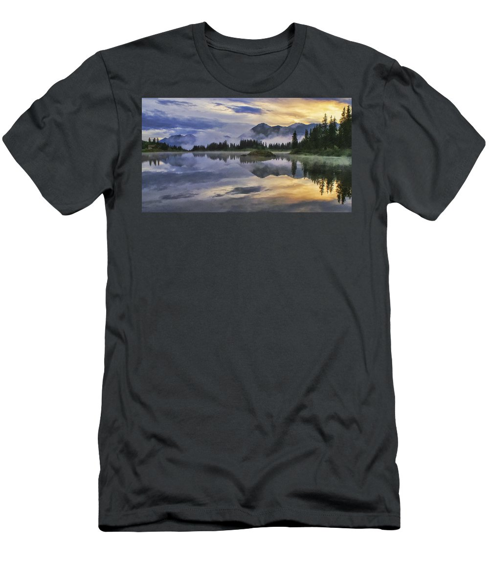 Molas Lake Men's T-Shirt (Athletic Fit) featuring the photograph Molas Lake Sunrise by Priscilla Burgers