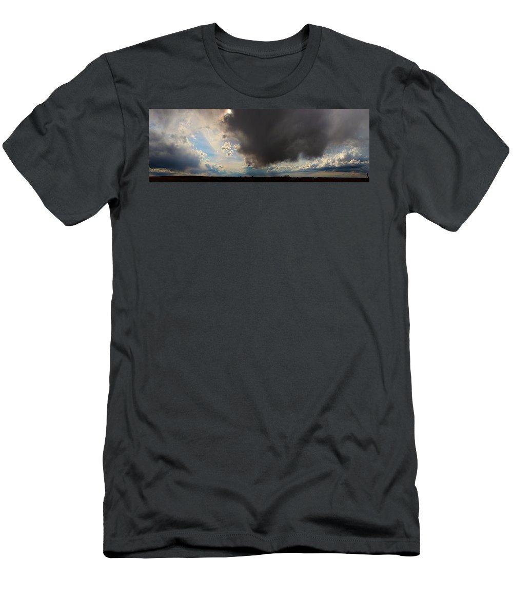Stormscape Men's T-Shirt (Athletic Fit) featuring the photograph Nebraska Storms A Brewin by NebraskaSC