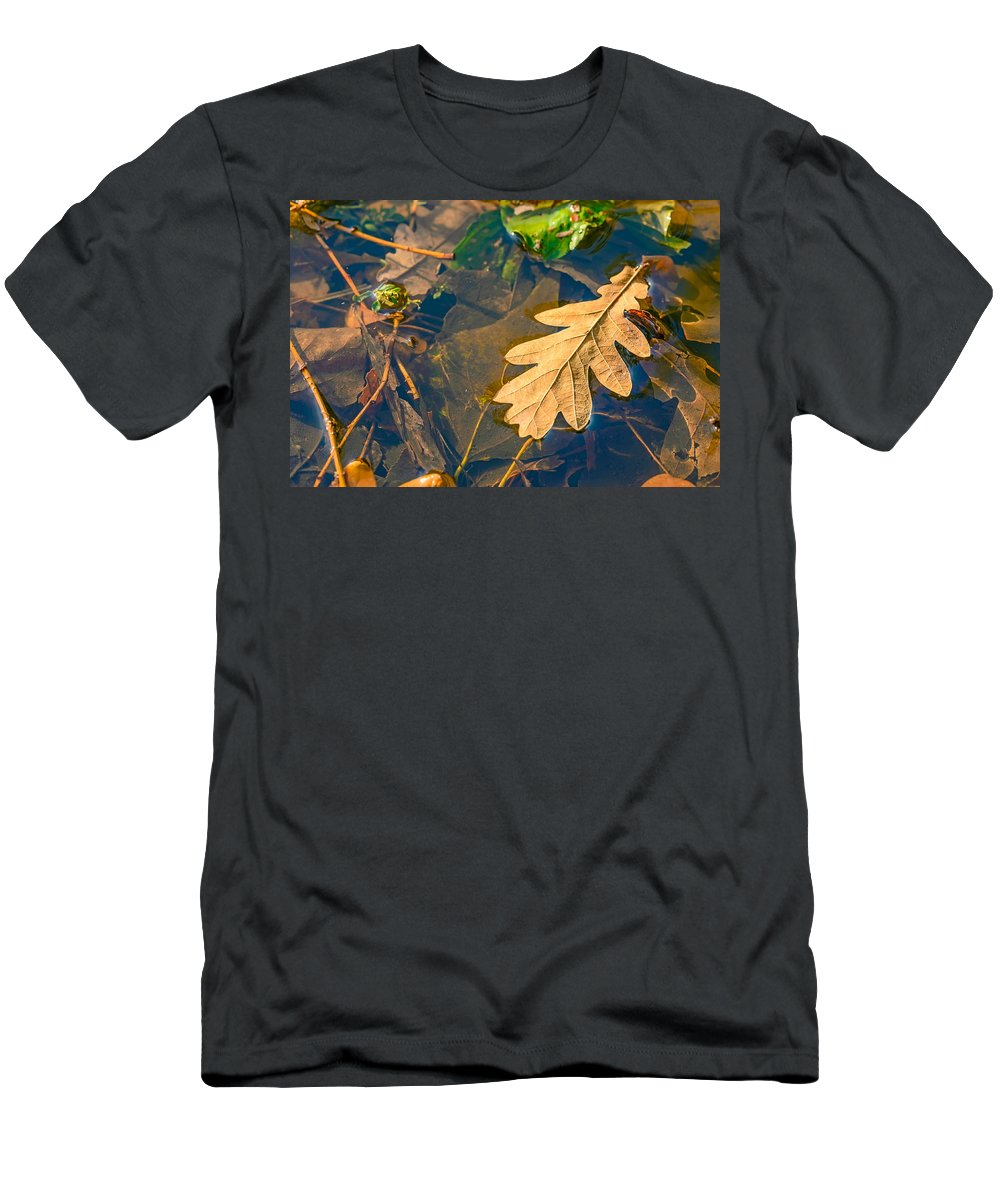 Autumn Men's T-Shirt (Athletic Fit) featuring the photograph Oak Leaves In A Puddle by Alain De Maximy