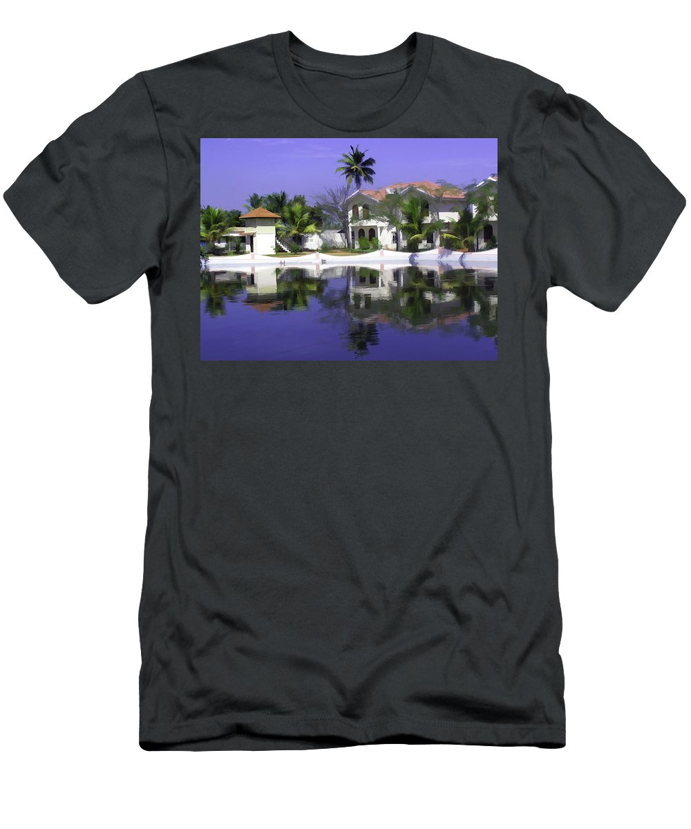 Alleppey Men's T-Shirt (Athletic Fit) featuring the digital art Oil Painting - Cottages And Lagoon Water In Alleppey by Ashish Agarwal