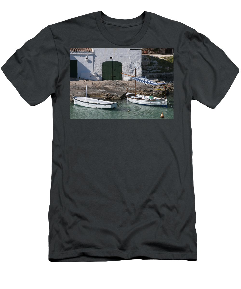 Architecture Men's T-Shirt (Athletic Fit) featuring the photograph Typical Mediterranean Fishermen Boat And House In Minorca Island - Old Fishermen Villa by Pedro Cardona Llambias