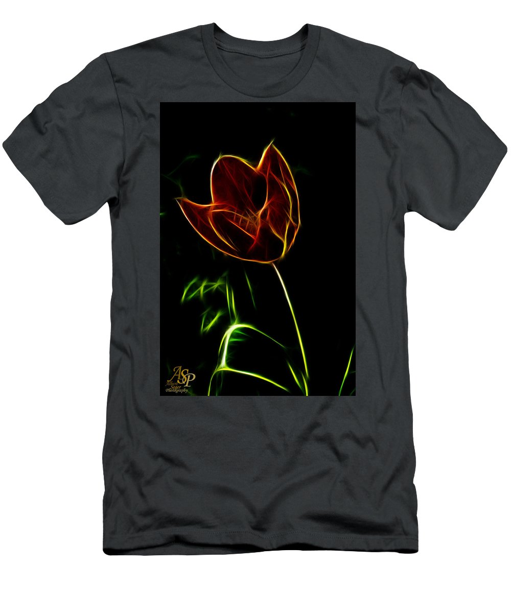 Blooming Men's T-Shirt (Athletic Fit) featuring the photograph Orange Tulip by Albert Seger