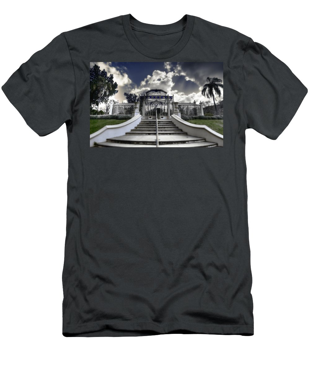 Palms Men's T-Shirt (Athletic Fit) featuring the photograph Palm House by Wayne Sherriff