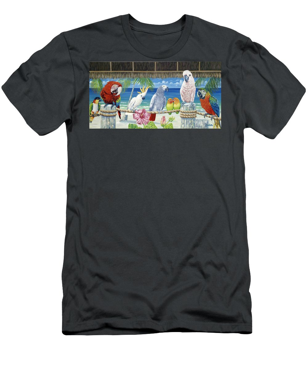 Art Men's T-Shirt (Athletic Fit) featuring the painting Parrots In Paradise by Danielle Perry