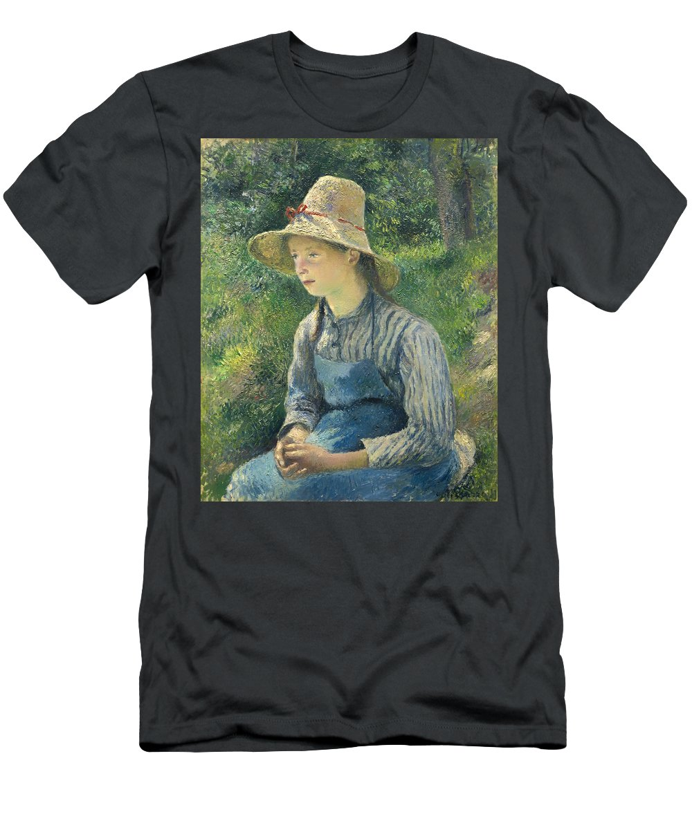 Girl Men's T-Shirt (Athletic Fit) featuring the painting Peasant Girl With A Straw Hat by Mountain Dreams