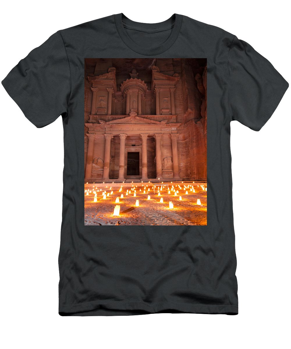 Petra Men's T-Shirt (Athletic Fit) featuring the photograph Petra By Night by Alexey Stiop