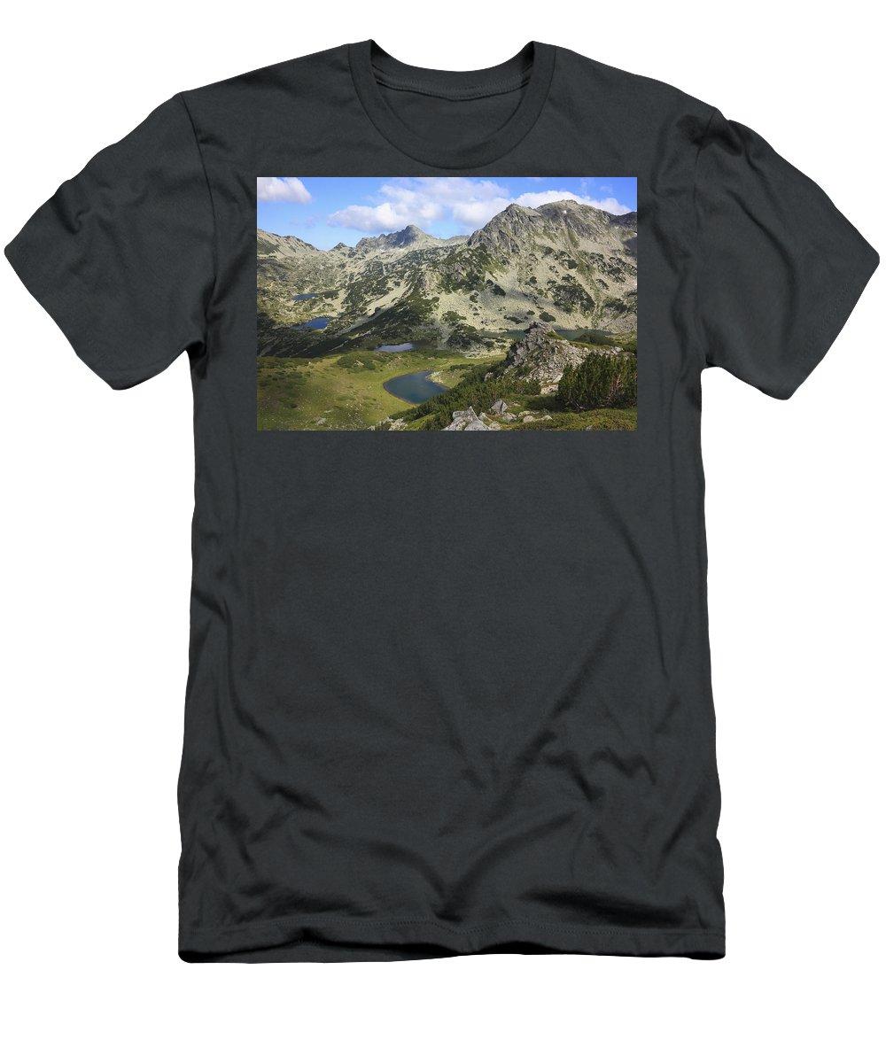 Balkan Peninsula Men's T-Shirt (Athletic Fit) featuring the photograph Prevalski And Valyavishki Lakes Pirin National Park Bulgaria by Ivan Pendjakov