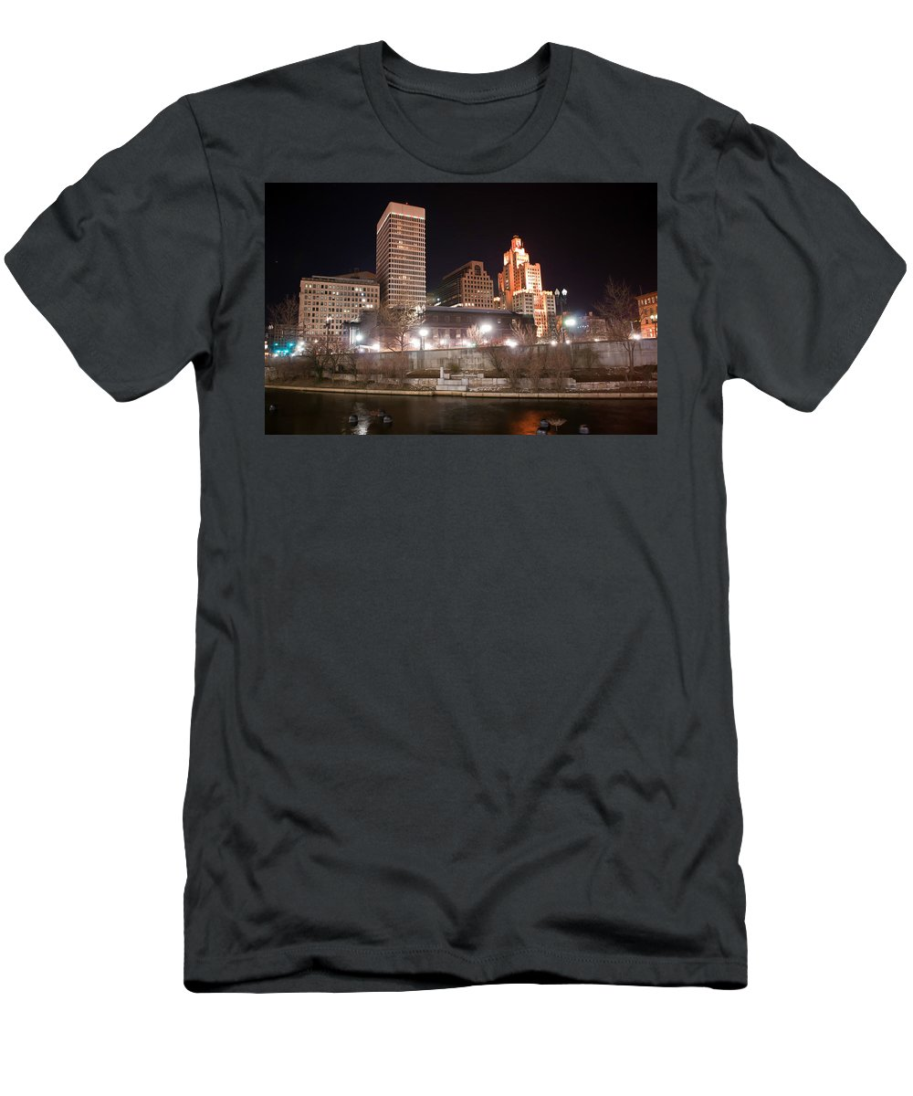 City Men's T-Shirt (Athletic Fit) featuring the photograph Providence Rhode Island Skyline At Night by Alex Grichenko
