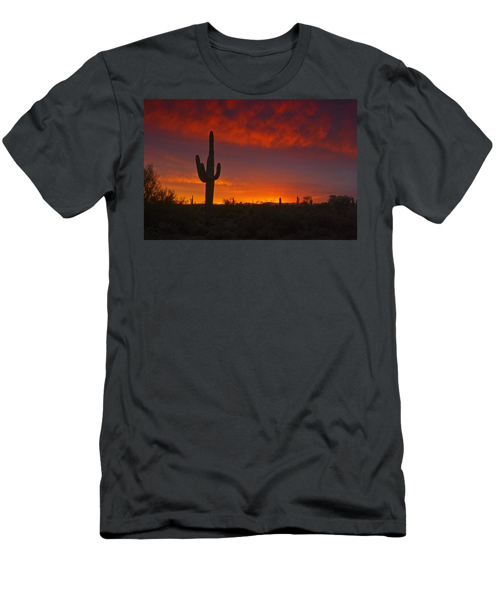Sunset Men's T-Shirt (Athletic Fit) featuring the photograph Red Desert Skies by Saija Lehtonen