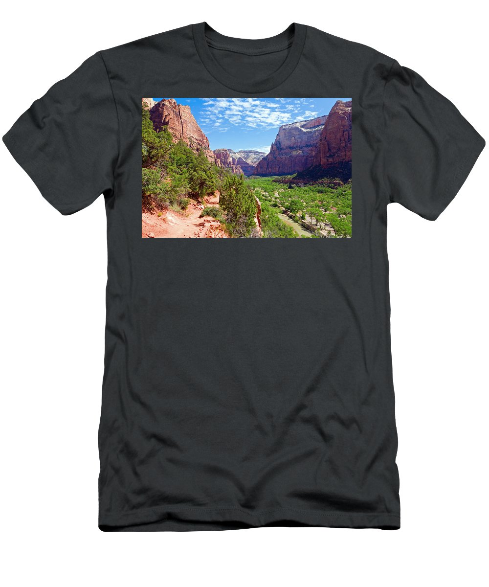 National Men's T-Shirt (Athletic Fit) featuring the photograph River Through Zion by Alexey Stiop