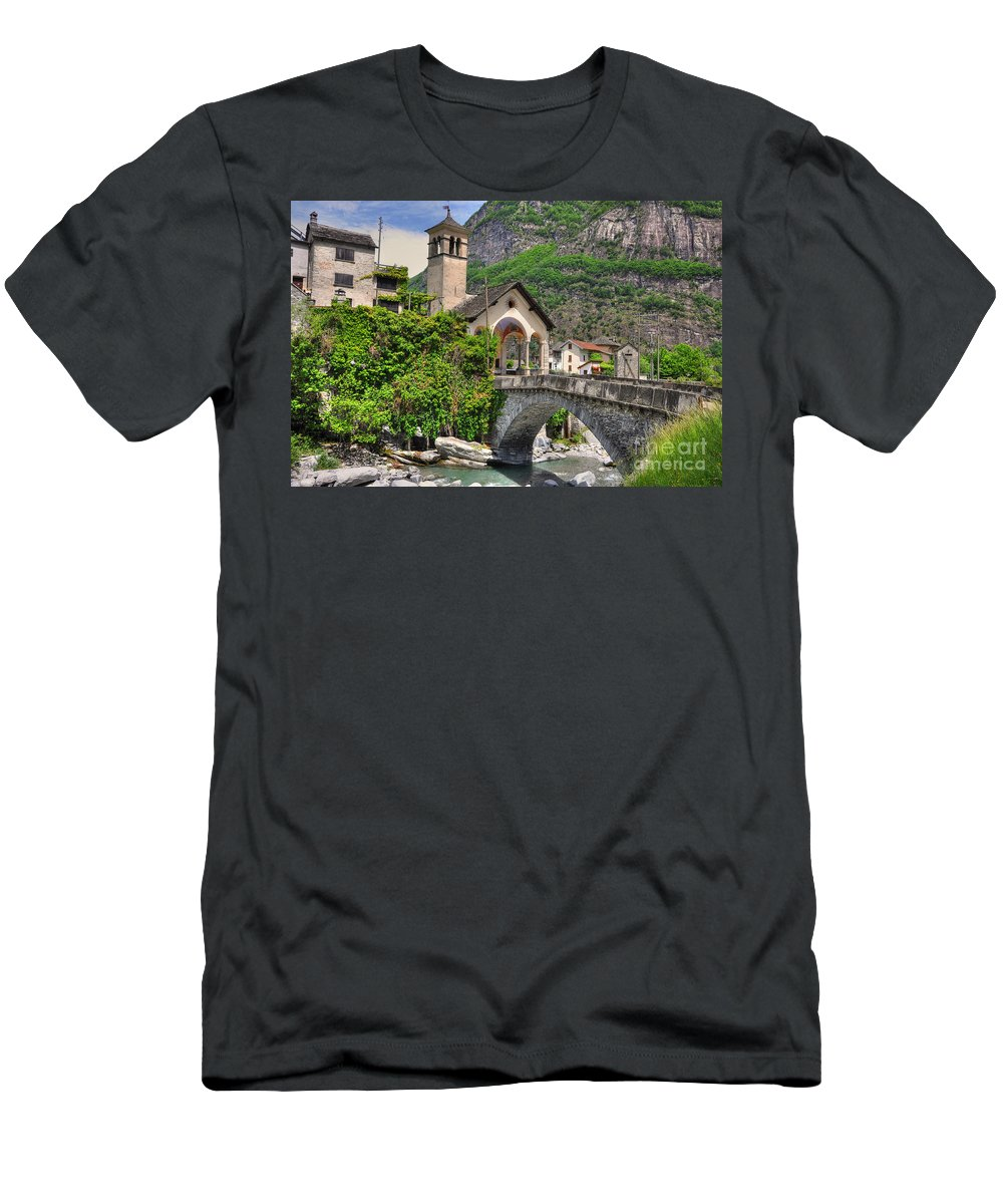 River Men's T-Shirt (Athletic Fit) featuring the photograph Rustic Village by Mats Silvan